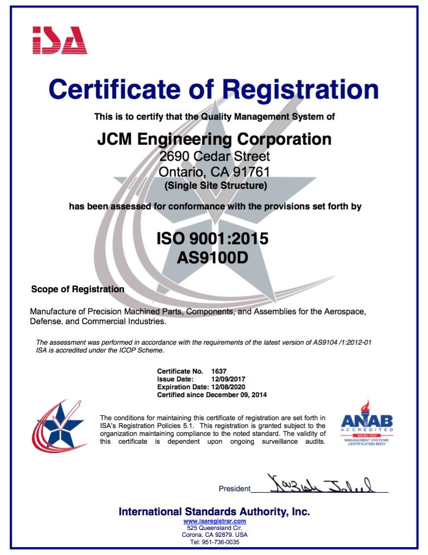 Isoas Certified Jcm Corp
